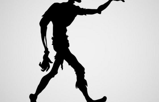行走的僵尸剪影免扣图片素材