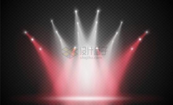 很多白色和红色舞台灯光效果png图片免抠eps矢量素材
