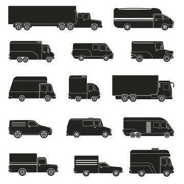 14款各种黑白色的卡车货车汽车侧影图片免扣素材