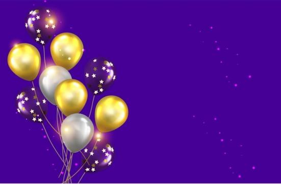 黄色白色和紫色气球及星星装饰图片免抠矢量素材