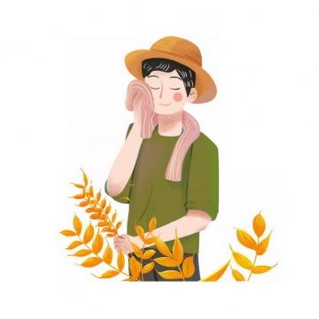 卡通农民用毛巾擦汗插画png免抠图片素材