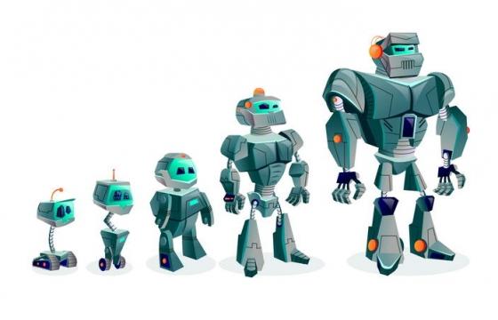 卡通漫画风格大小不一的机器人免扣图片素材
