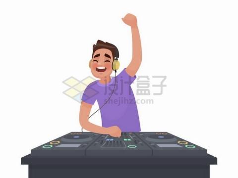 卡通DJ正在打碟png图片免抠矢量素材