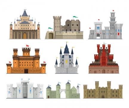 9款宏伟的欧式古城堡图片免抠矢量素材