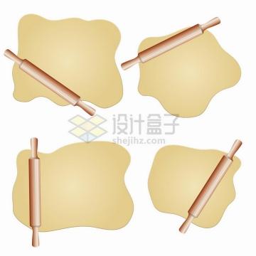 4款木制擀面杖和碾压成型的面团厨房用品png图片免抠矢量素材