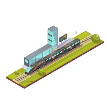 2.5D卡通风格停靠在火车站的火车图片免抠素材