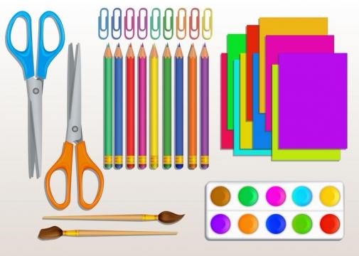 剪刀铅笔曲别针便签纸画笔等办公用品图片免抠矢量素材