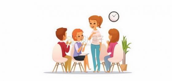 围坐在一起讨论问题的商务人士png图片免抠矢量素材