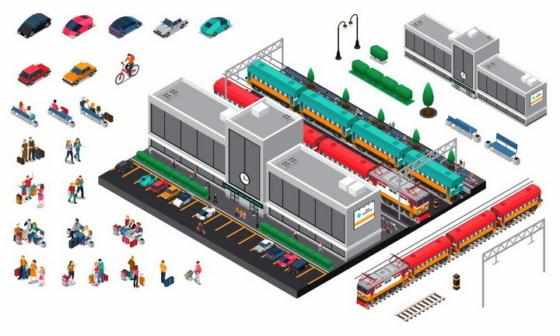 2.5D风格火车站建筑设施png图片免抠eps矢量素材