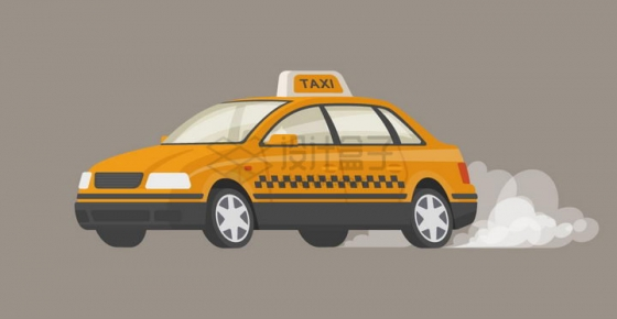 卡通出租车后面扬起灰尘png图片免抠矢量素材