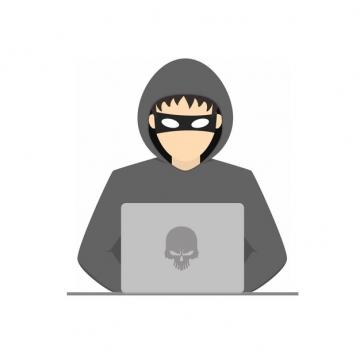 灰衣服的卡通黑客412831png图片素材