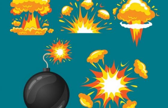 黑色圆球炸弹和各种爆炸效果蘑菇云图片免抠素材