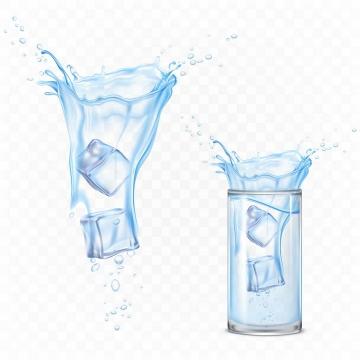 掉入蓝色半透明水中的冰块效果图片免抠素材