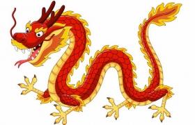 红色和金色组成的卡通中国龙png图片免抠矢量素材