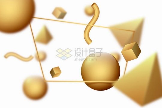 3D立体金色圆球金字塔形等标题背景框png图片免抠矢量素材
