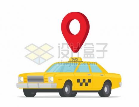 黄色出租车和上面的红色定位标志png图片免抠矢量素材