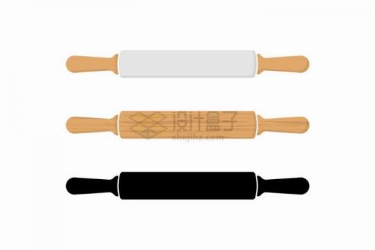 3款木制擀面杖和剪影厨房用品png图片免抠矢量素材