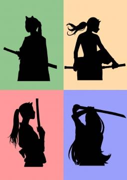 四款漫画风格手拿武士刀的美少女剪影免扣图片素材