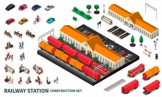2.5D风格货运火车站建筑设施png图片免抠eps矢量素材