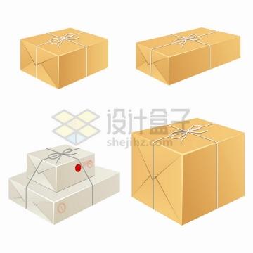 4种绳子打包的纸盒包装png图片免抠矢量素材