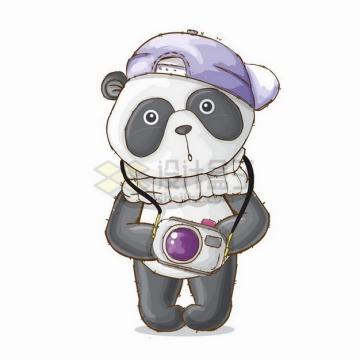 戴着帽子的卡通熊猫拿着照相机png图片免抠矢量素材