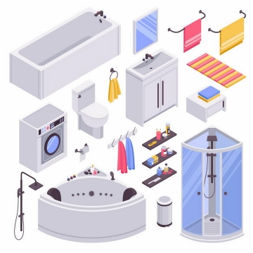 2.5D风格浴缸抽水马桶洗衣机淋浴室等卫生间设施png图片免抠eps矢量素材