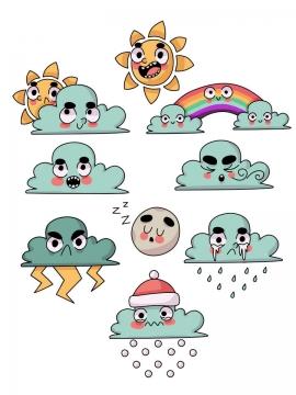 手绘卡通晴天多云雷电下雨下雪等天气预报表情包图片免抠矢量素材