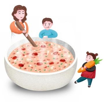 卡通彩绘正在做腊八粥八宝粥养生粥腊八节传统美食的妈妈和孩子图片免抠png素材