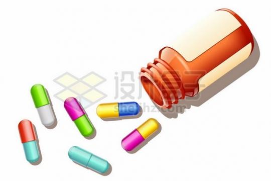 倒掉的药瓶和彩色胶囊药丸806393png图片素材