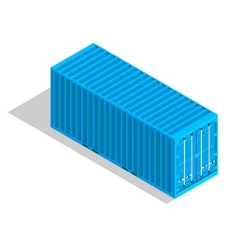 立体风格的蓝色集装箱货运物流免扣图片素材