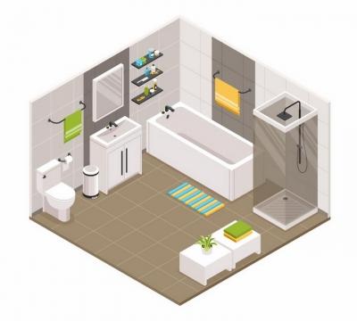 2.5D风格带有浴缸淋浴室洗手池抽水马桶的简约卫生间装修风格png图片免抠eps矢量素材