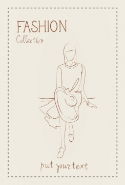 简约线条风格时尚拿着太阳帽的休闲女性时装设计草图图片免抠矢量素材