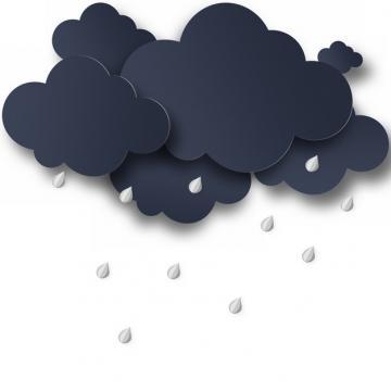剪纸叠加风格乌云密布下雨的云朵815844png图片素材