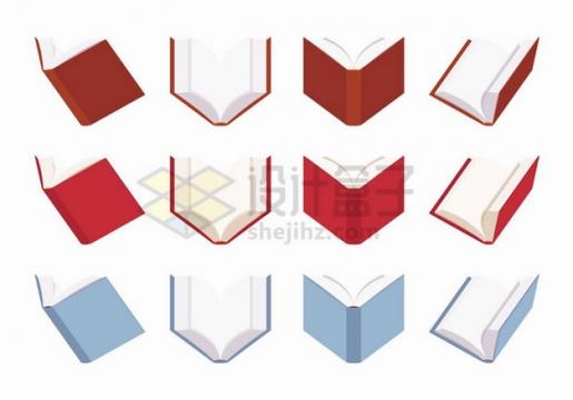 12款不同角度打开的书本扁平化风格png图片免抠矢量素材