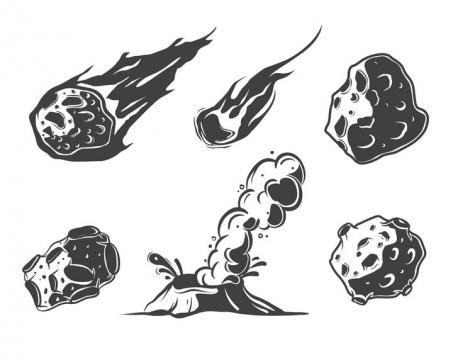 黑白漫画风格火流星陨石免抠矢量图素材