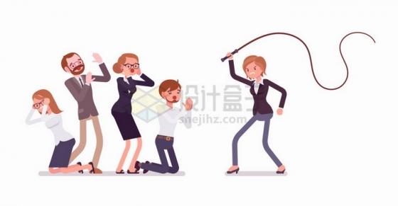 女领导拿着鞭子恐吓下属办公室企业文化png图片免抠矢量素材