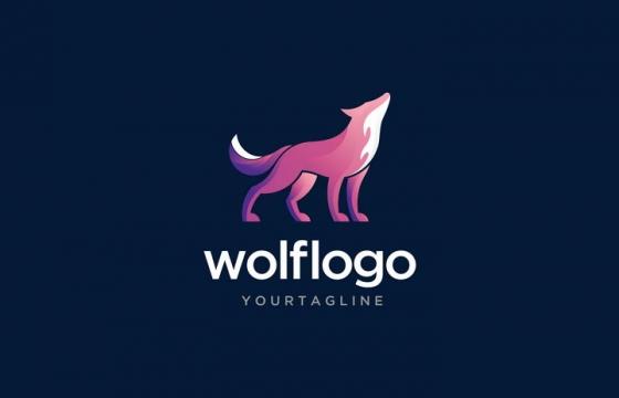 创意粉色嚎叫的野狼logo设计方案图片免抠矢量素材
