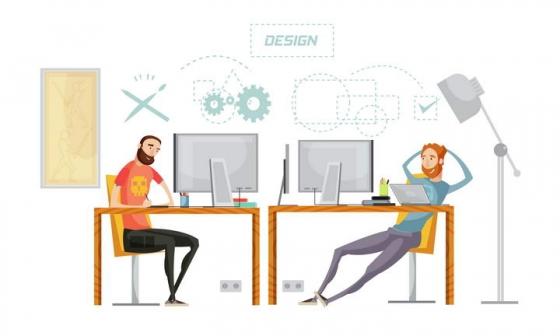 卡通风格两个设计师坐在电脑面前交流图片免抠素材