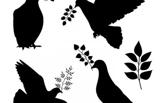 四种和平鸽衔着橄榄枝剪影图片免抠素材
