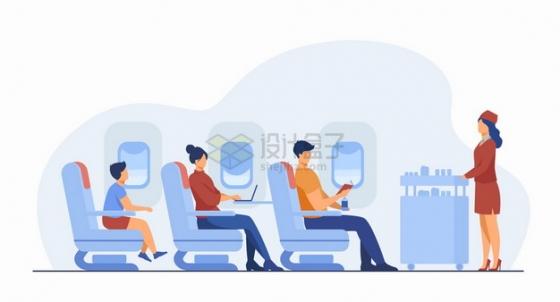 客机内部场景乘客和空姐扁平插画png图片素材