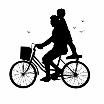爸爸骑自行车带着儿子玩耍父亲节剪影246372png图片素材