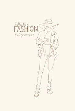 简约线条风格时尚戴着太阳帽休闲女装时装设计草图图片免抠矢量素材