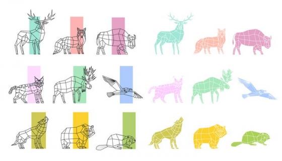 线条多边形色块组成的鹿狐狸等动物剪影图片免抠素材