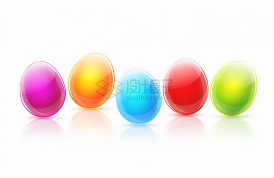 5种颜色的水晶风格彩蛋鸡蛋png图片免抠矢量素材