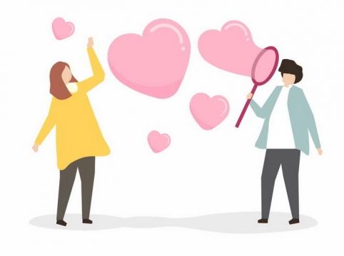扁平化风格吹出心形符号泡泡的情侣情人节png图片免抠eps矢量素材