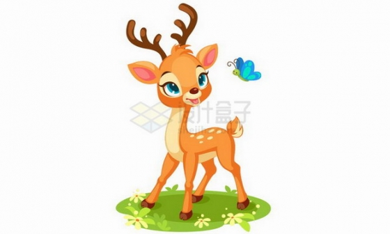 在草地上和蝴蝶嬉戏的卡通梅花鹿小鹿png图片免抠矢量素材