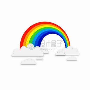 白色云朵上的七彩虹png图片免抠矢量素材