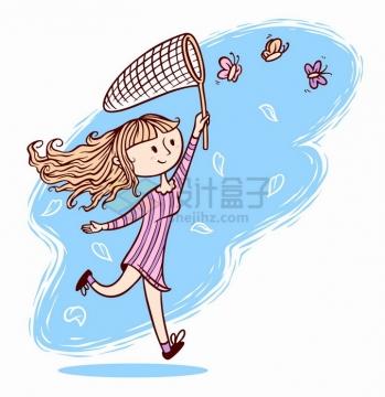 春天里可爱卡通女孩拿着捕虫网抓蝴蝶手绘插画png图片免抠矢量素材