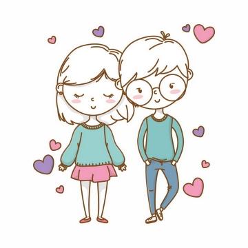 手绘卡通风格大头娃娃情侣情人节png图片免抠eps矢量素材