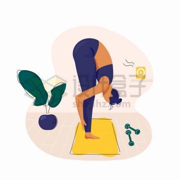 做瑜伽动作的女孩手绘扁平插画png图片免抠矢量素材